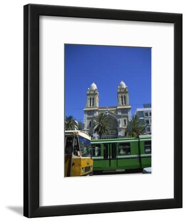 Cathedral with Bus and Tram in Foreground, Tunis, Tunisia, North Africa, Africa