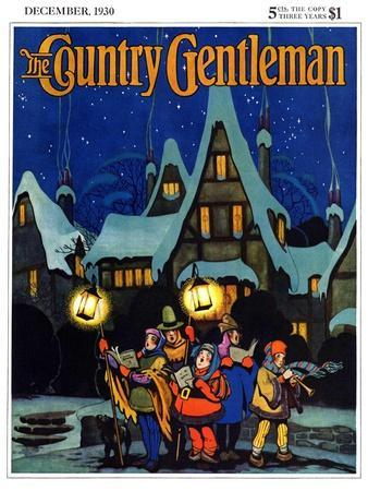 """""""Christmas Carolling in Village at Night,"""" Country Gentleman Cover, December 1, 1930"""