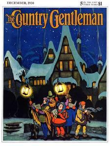 """""""Christmas Carolling in Village at Night,"""" Country Gentleman Cover, December 1, 1930 by Nelson Grofe"""