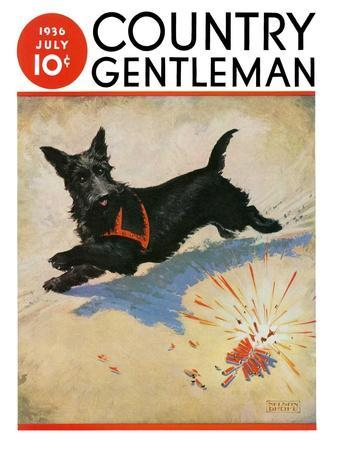 """Dog and Firecrackers,"" Country Gentleman Cover, July 1, 1936"