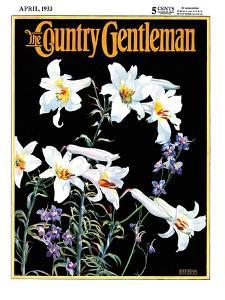 """""""Easter Lilies,"""" Country Gentleman Cover, April 1, 1933 by Nelson Grofe"""