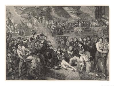 Nelson is Fatally Wounded on the Deck of the Victory-James Heath-Giclee Print