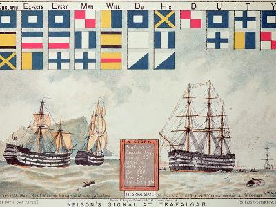 Nelson's Signal at Trafalgar, 1805, 'The Boy's Own Paper' Commemorate Hms Victory, Portsmouth, 1885-Walter William May-Giclee Print