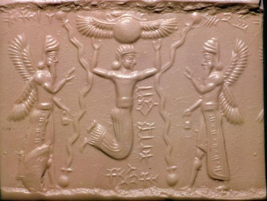 Neo-Assyrian cylinder-seal impression. Artist: Unknown-Unknown-Giclee Print
