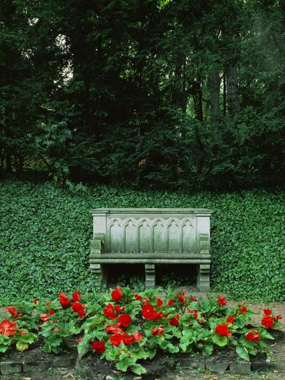 Neo-Gothic Bench in the Park of Babelsberg Palace, Potsdam-Karl Friedrich Schinkel-Giclee Print