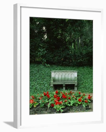 Neo-Gothic Bench in the Park of Babelsberg Palace, Potsdam-Karl Friedrich Schinkel-Framed Giclee Print
