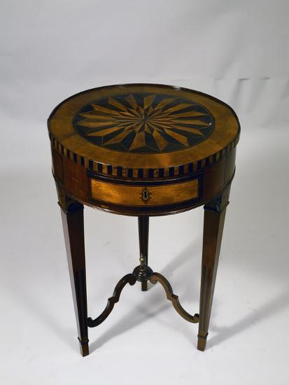 Neoclassical Style Piedmont Drum Table with Geometric Inlays, Italy--Giclee Print