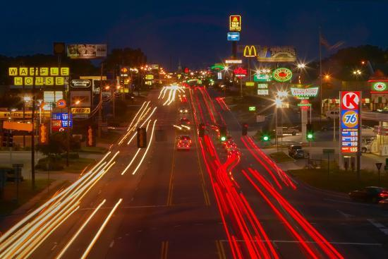 Neon lights along Highway 22 in Central Georgia--Photographic Print