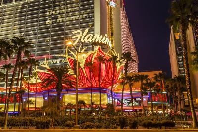 Neon Lights, Las Vegas Strip at Dusk with Flamingo Facade and Palm Trees, Las Vegas, Nevada, Usa-Eleanor Scriven-Photographic Print
