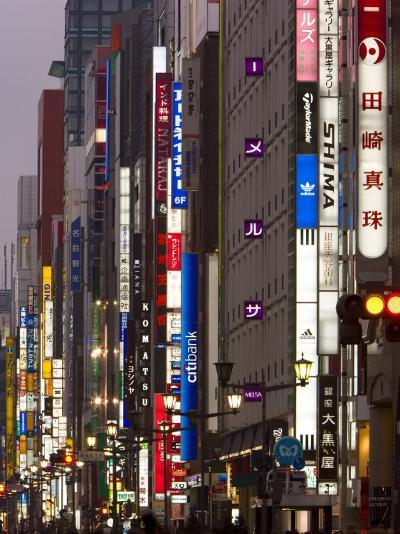 Neon Lights of Chou-Dori Avenue, Ginza, Tokyo, Island of Honshu, Japan, Asia-Gavin Hellier-Photographic Print