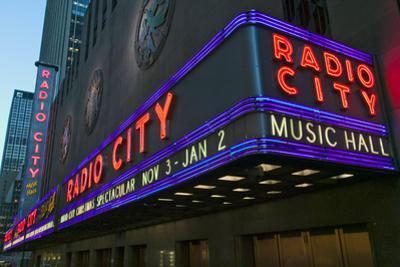 Neon lights of Radio City Music Hall at Rockefeller Center, New York City, New York