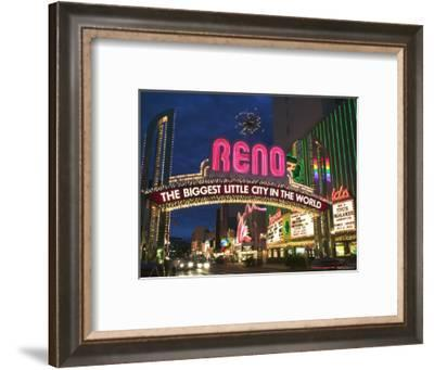 Neon Reno Sign on North Virginia Street, Nevada, USA-Walter Bibikow-Framed Photographic Print