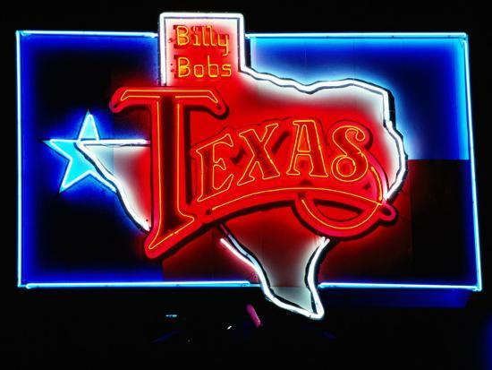 Neon Sign, Billy Bob's Texas Honky Tonk, Fort Worth, Texas-Holger Leue-Photographic Print