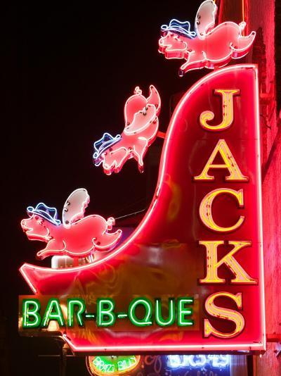 Neon Sign for Jack's BBQ Restaurant, Lower Broadway Area, Nashville, Tennessee, USA-Walter Bibikow-Photographic Print
