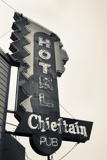 Neon Sign for the Chieftain Hotel and Pub, Squamish, British Columbia, Canada-Walter Bibikow-Photographic Print