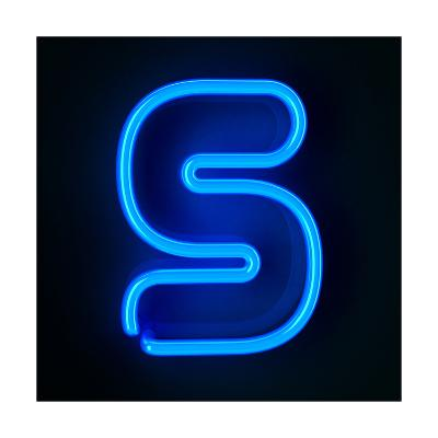 Neon Sign Letter S-badboo-Art Print