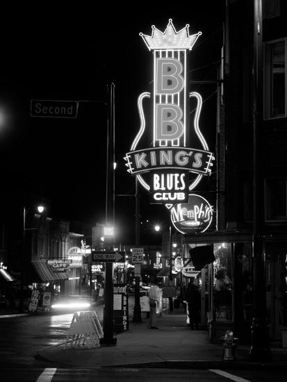 Neon sign lit up at night, B. B. King's Blues Club, Memphis, Shelby County, Tennessee, USA--Photographic Print