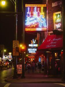Neon Sign Lit Up at Night in a City, Rum Boogie Cafe, Beale Street, Memphis, Shelby County