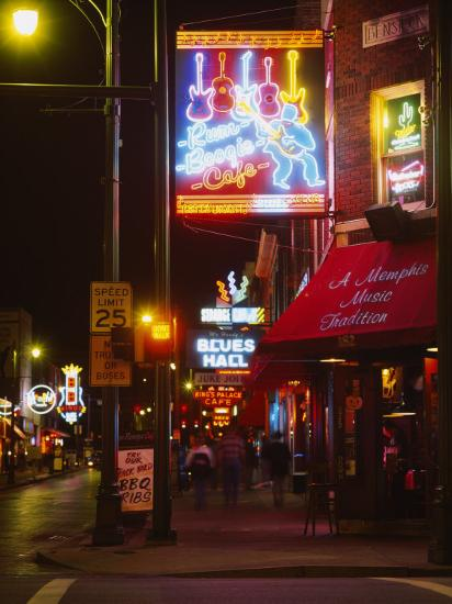 Neon Sign Lit Up at Night in a City, Rum Boogie Cafe, Beale Street, Memphis, Shelby County--Photographic Print