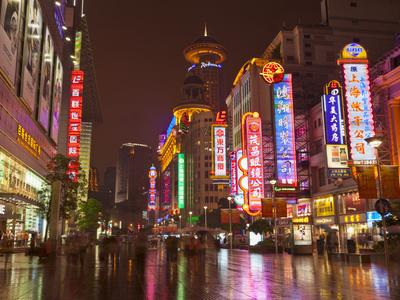 Neon Signs and Shoppers, Nanjing Road, Shanghai, China, Asia-Neale Clark-Photographic Print