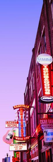Neon Signs at Dusk, Nashville, Tennessee, USA--Photographic Print