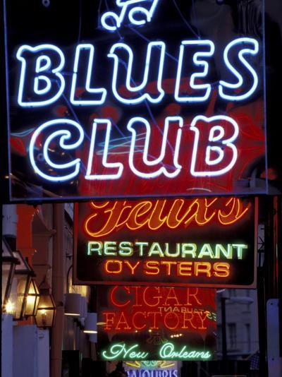 Neon Signs on Bourbon Street, French Quarter, New Orleans, Louisiana, USA-Adam Jones-Photographic Print