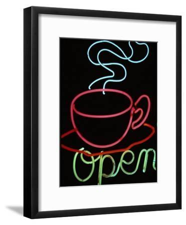 "Neon Steaming Coffee Cup and the Word ""Open""-Stephen St. John-Framed Photographic Print"