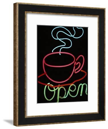"""Neon Steaming Coffee Cup and the Word """"Open""""-Stephen St. John-Framed Photographic Print"""