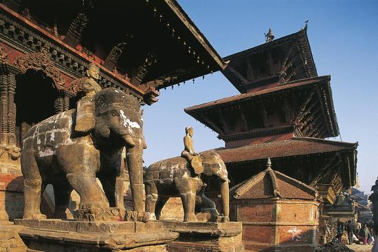 Nepal, Lalitpur, Patan, Elephant Statues Opposite Temples of Vishnata and Bishmen Mandir--Giclee Print