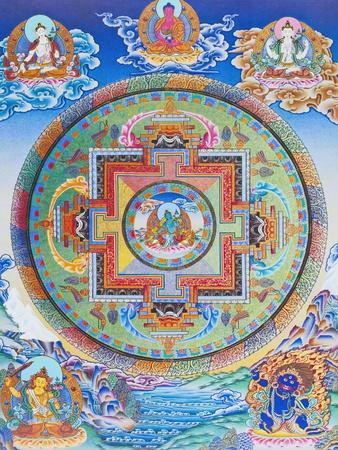 Green Tara Mandala depicting the maternal protector from all dangers in the ocean of existence