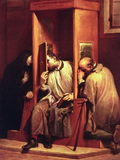 Nepomuk Takes the Confession of the Queen of Bohemia-Giuseppe Maria Crespi-Giclee Print