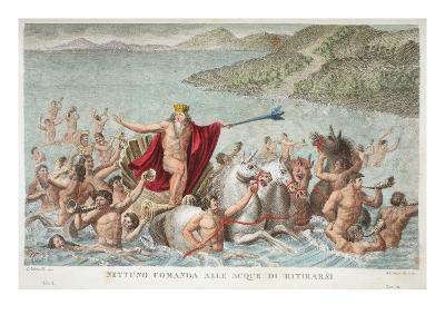 Neptune Calming the Waves, Book I, Illustration from Ovid's Metamorphoses, Florence, 1832-Luigi Ademollo-Giclee Print