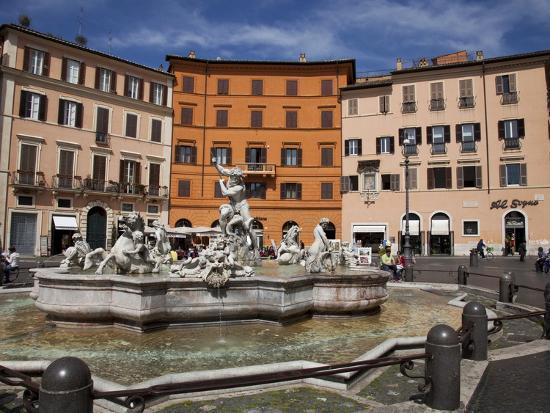 Neptune Fountain, Piazza Navona, Rome, Lazio, Italy, Europe-Carlo Morucchio-Photographic Print