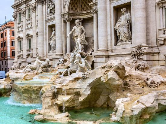 Neptune, nymphs, seahorse statues. Trevi Fountain, Rome, Italy. Nicola Salvi created the fountain a-William Perry-Photographic Print