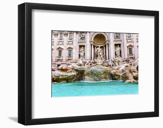 Neptune, nymphs, seahorse statues. Trevi Fountain, Rome, Italy. Nicola Salvi created the fountain a-William Perry-Framed Photographic Print
