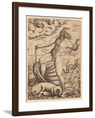 Neptune Riding in a Seashell Chariot, 15th Century--Framed Giclee Print