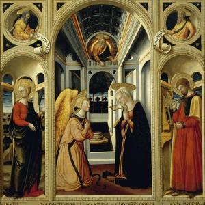 Annunciation Showing St Apollonia, St Luke and Prophets David and Isaiah by Neri Di Bicci