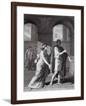 Nero and Junia, Illustration from Britannicus, Tragedy by Jean Racine--Framed Giclee Print