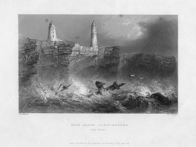 Ness Sands Lighthouses, Near Bristol, Goucestershire, 1841-Francis William Topham-Giclee Print