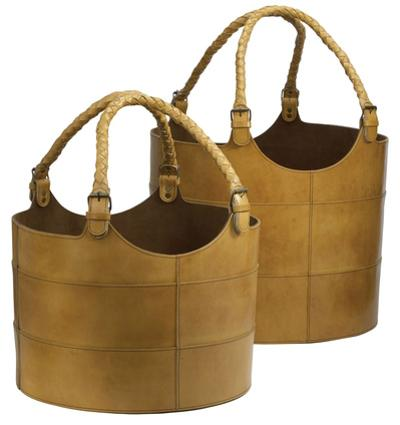 Nested Caramel Leather Buckets-Set Of 2
