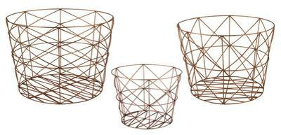 Nested Geometric Copper Baskets