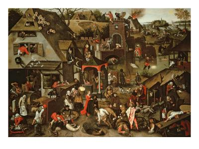 Netherlandish Proverbs Illustrated in a Village Landscape-Pieter Brueghel the Younger-Giclee Print