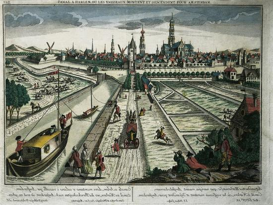 Netherlands, Haarlem, View of the Canal--Giclee Print