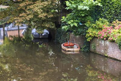 Netherlands, Holland, Medieval Old Town, Inner City Canals, Wooden Boat-Emily Wilson-Photographic Print