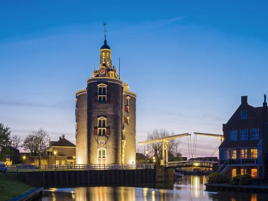 Netherlands, North Holland, Enkhuizen. Drommedaris tower, historic former city gate at the entrance-Jason Langley-Photographic Print