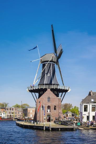 Netherlands, North Holland, Haarlem. Windmill De Adriaan on the Spaarne River.-Jason Langley-Photographic Print