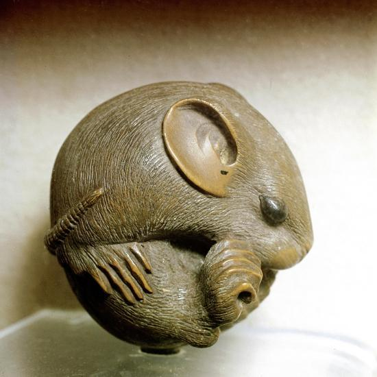 Netsuke carved in the form of a rat, one of the 12 animals of the Japanese zodiac. Artist: Unknown-Unknown-Giclee Print