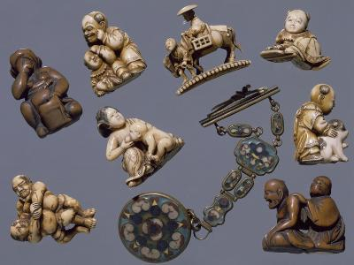 Netsuke Depicting Scenes of Everyday Life, Ivory and Wood, Japan--Giclee Print