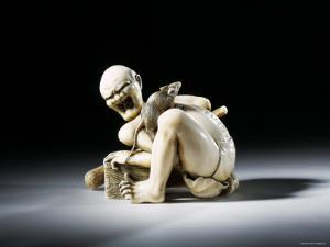 Netsuke Figure of the Thwarted Rat Catcher in Carved Ivory, 19th Century