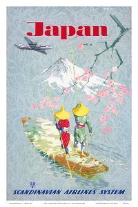 Japan, Cherry Tree Blossoms, Mount Fuji, SAS Scandinavian Airlines System by Netzler